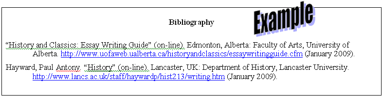 Bibliography example for Thesis paper